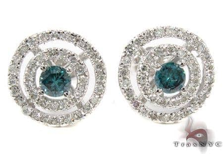 Ladies Blue Saucer Earrings Stone