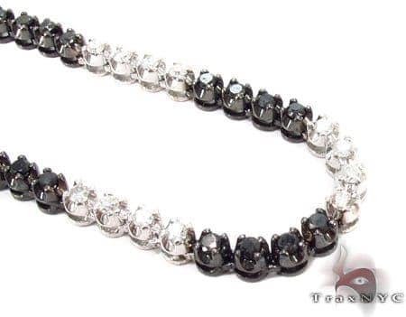 Black and White Diamond Chain 40 Inches, 4mm, 64.7 Grams Diamond