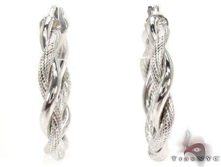 14K White Gold Hoop Earrings 31363 Metal
