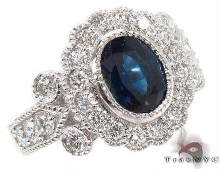14K Gold Blue Sapphire Diamond Ring 31544 Anniversary/Fashion