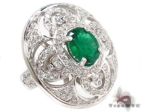 Green Emerald & Diamond Ring 31548 Anniversary/Fashion