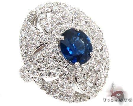 Blue Sapphire & amazing Diamonds Ring 31551 Anniversary/Fashion