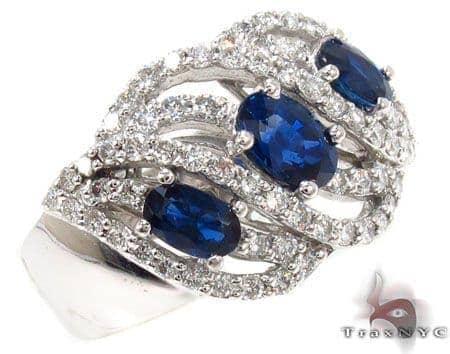 3 oval cut Sapphires Diamond Ring 31552 Anniversary/Fashion