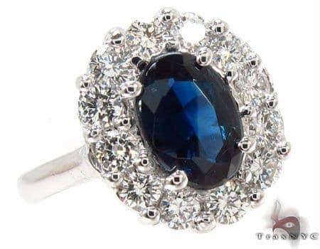 Deep Blue Sapphire & Diamond Ring 31558 Anniversary/Fashion