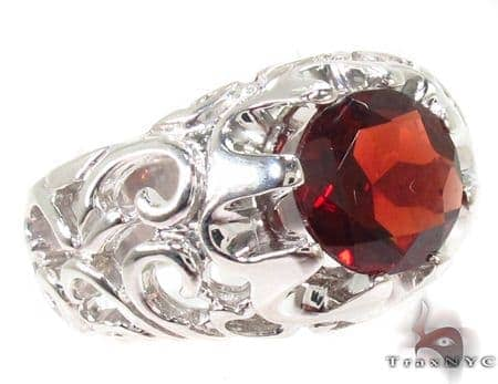 Mens Patterned Garnet & Silver Ring 31714 Metal
