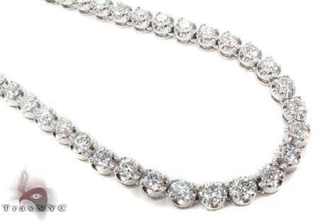 18K Gold Prong Diamond Chain 26 Inches 5mm 98.40Grams Diamond