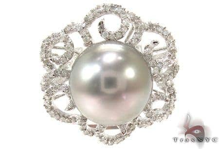 Prong Diamond Gray Pearl Ring 32034 Anniversary/Fashion