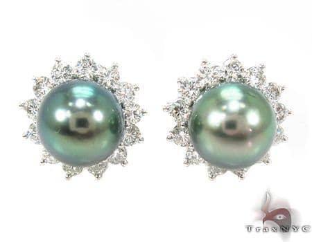 Prong Diamond Green Pearl  Earrings 32065 Stone