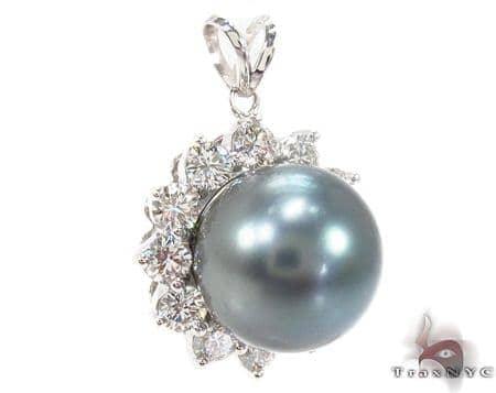 Prong Diamond Black Pearl Pendant 32066 Stone