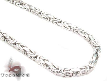 14K White Gold Byzantine Chain 26 Inches 3mm 50.1 Grams Gold