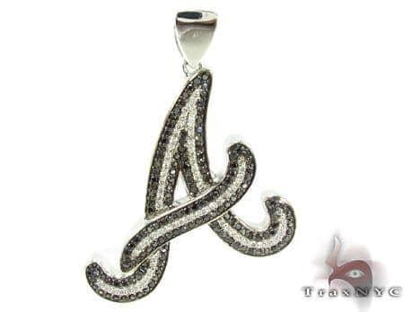 Black and White Prong Diamond A Pendant 32217 Metal