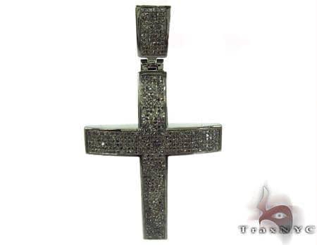 Prong Black Diamond Cross Crucifix 32261 Silver