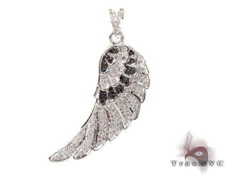 Prong Black and White Diamond Pinna Silver Pendant 32295 Metal