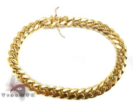Miami Cuban Link Bracelet 7 Inches 13mm 77.6 Grams Gold