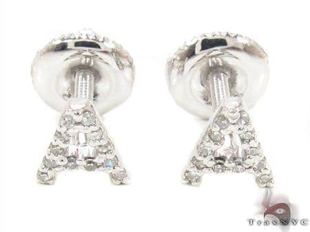 Prong Diamond Initial 'A' Earrings 32639 Stone