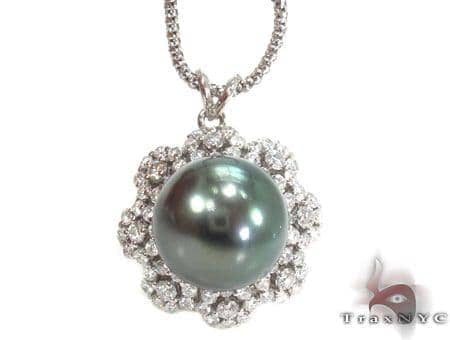 Black Pearl Diamond Necklace 32669 Pearl