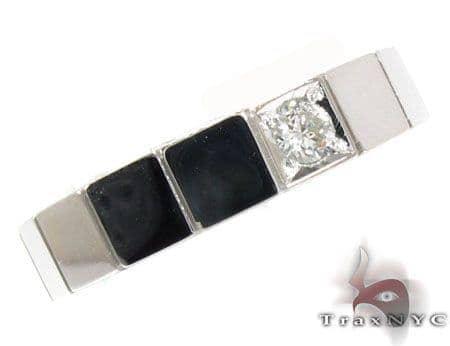 White Gold Prong Diamond Mens Ring Style