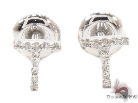 Prong Diamond Initial 'T' Earrings 32653 Stone