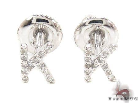 Prong Diamond Initial 'K' Earrings 32645 Stone