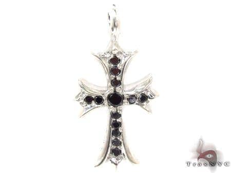 Silver Black Diamond Chrome Hearts Cross Crucifix 32659 Silver