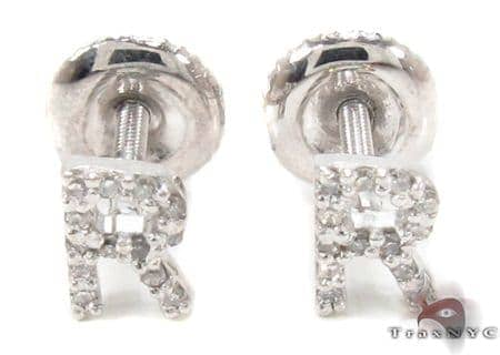 Prong Diamond Initial 'R' Earrings 32651 Stone