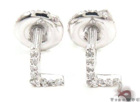 Prong Diamond Initial 'L' Earrings 32646 Stone