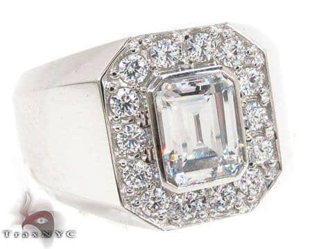 14K White CZ Ring 32699 Stone