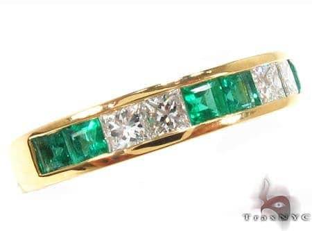 Invisible setting Emerald & Diamond Ring Anniversary/Fashion