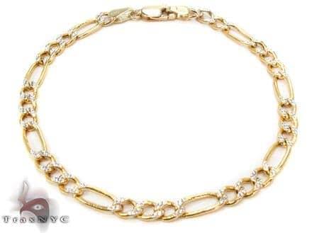 10K Figaro Diamond Cut Bracelet 33021 Gold