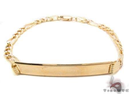 10K Gold Figaro Diamond Cut ID Bracelet 33038 Gold