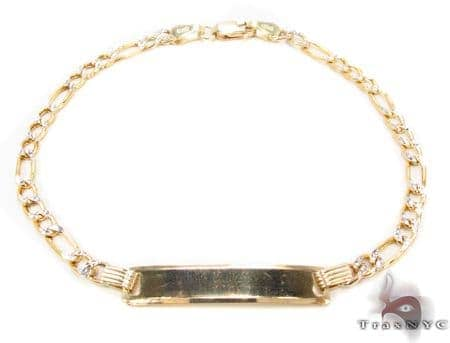 10K Gold Figaro Diamond Cut ID Bracelet 33039 Gold