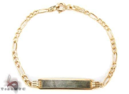 Baby 10K Gold Figaro ID Bracelet 33046 Gold