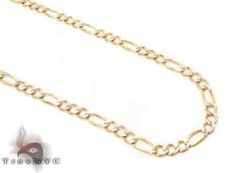 Solid Figaro Diamond Cut Chain 24 Inches 2mm 3.47 Grams Gold