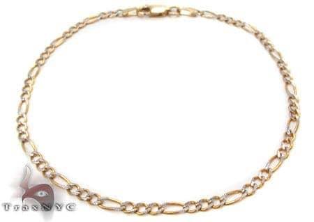 10K Gold Figaro Diamond Cut Bracelet 33237 Gold