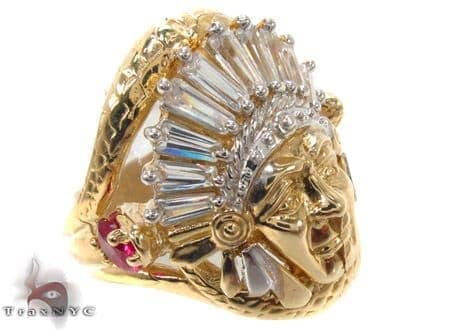 CZ 10K Gold Indian Head Ring 33258 Metal