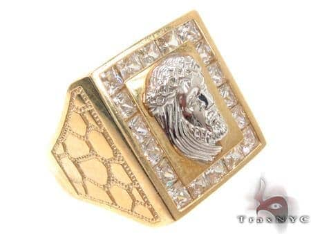 CZ 10K Gold Jesus Ring 33259 Metal