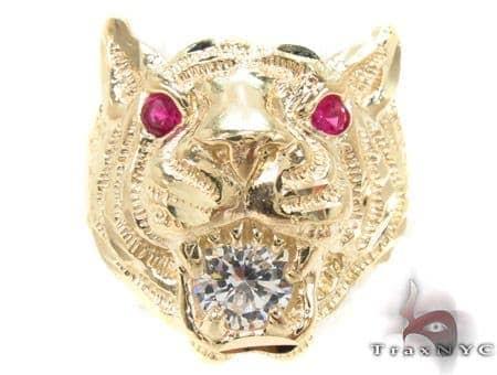 CZ 10K Yellow Tiger Gold Ring 33297 Metal