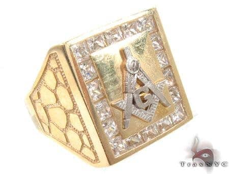 CZ 10K Yellow Gold G Ring 33306 Metal
