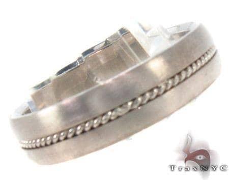 14K White Gold Wedding Band 33689 Style