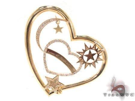 Prong Diamond 18K Gold Heart Pendant 33722 Style