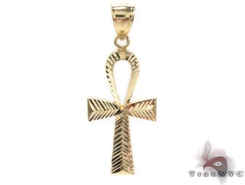 10K Yellow Gold Ankh Cross Crucifix 33927 Metal