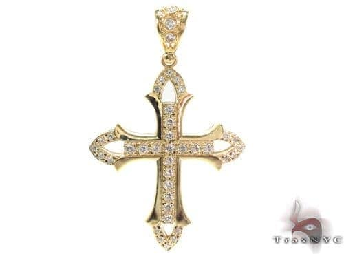 CZ 10K Gold Cross Crucifix 34063 Gold