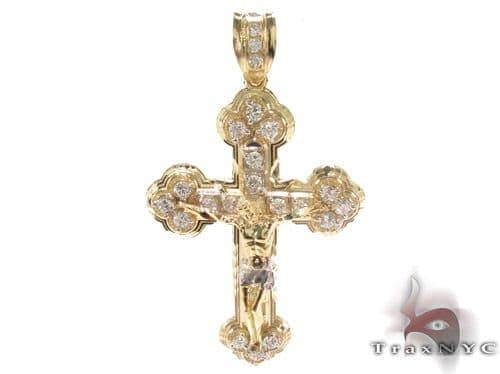 CZ 10K Gold Jesus Cross Crucifix 34083 Gold