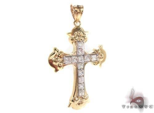 CZ 10K Gold Cross Crucifix 34084 Gold