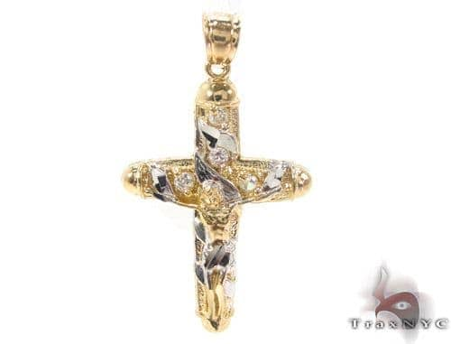 CZ 10K Gold Jesus Cross Crucifix 34129 Gold