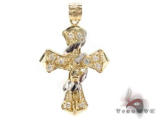 CZ 10K Gold Jesus Cross Crucifix 34130 Gold