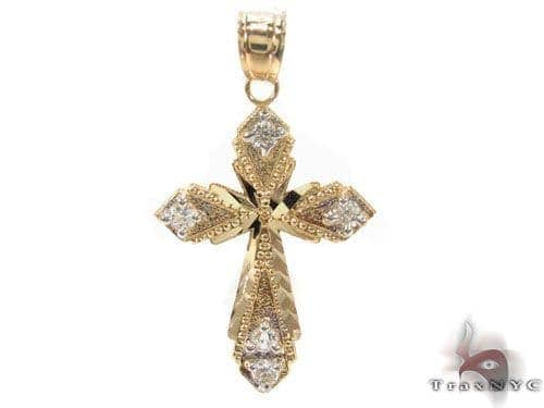 CZ 10K Gold Cross Crucifix 34133 Gold