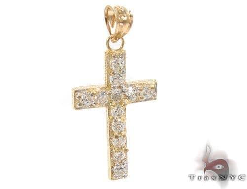 CZ 10K Gold Cross Crucifix 34137 Gold