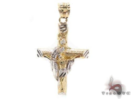 CZ 10K Gold Cross Crucifix 34140 Gold
