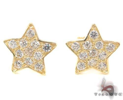 CZ 10K Gold Star Earrings 34225 Metal